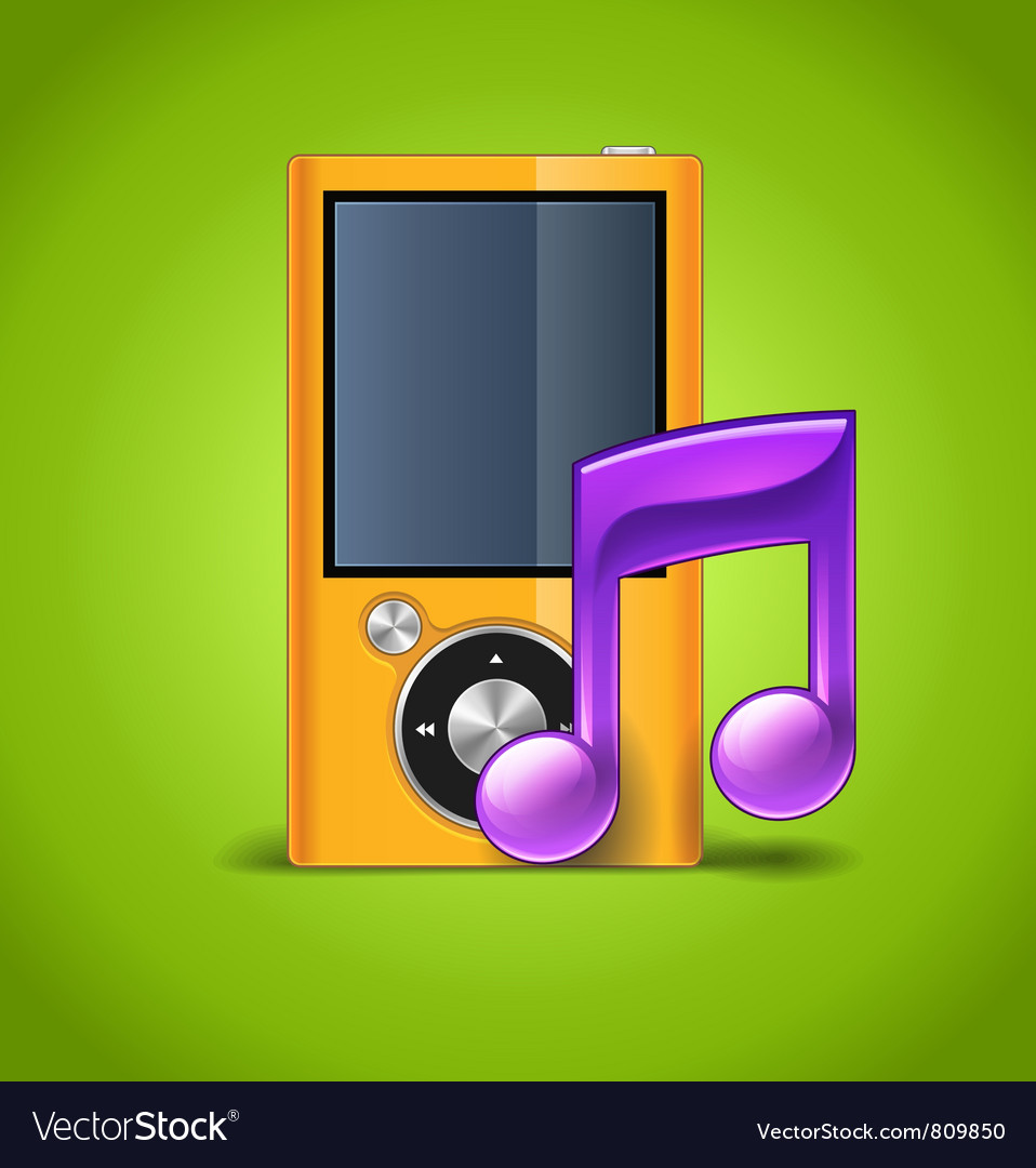 Mp3 player and note vector | Price: 3 Credit (USD $3)