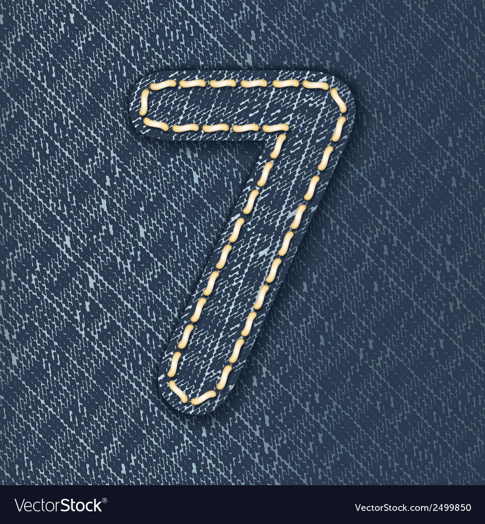 Number 7 made from jeans fabric vector | Price: 1 Credit (USD $1)