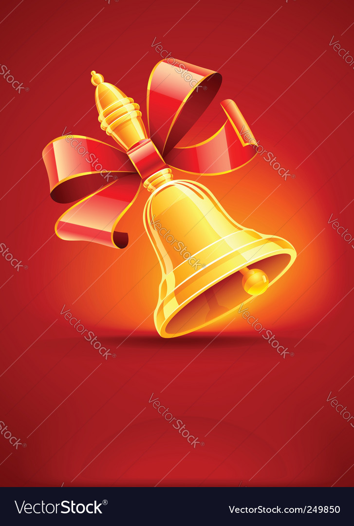 School bell with red ribbon vector   Price: 1 Credit (USD $1)