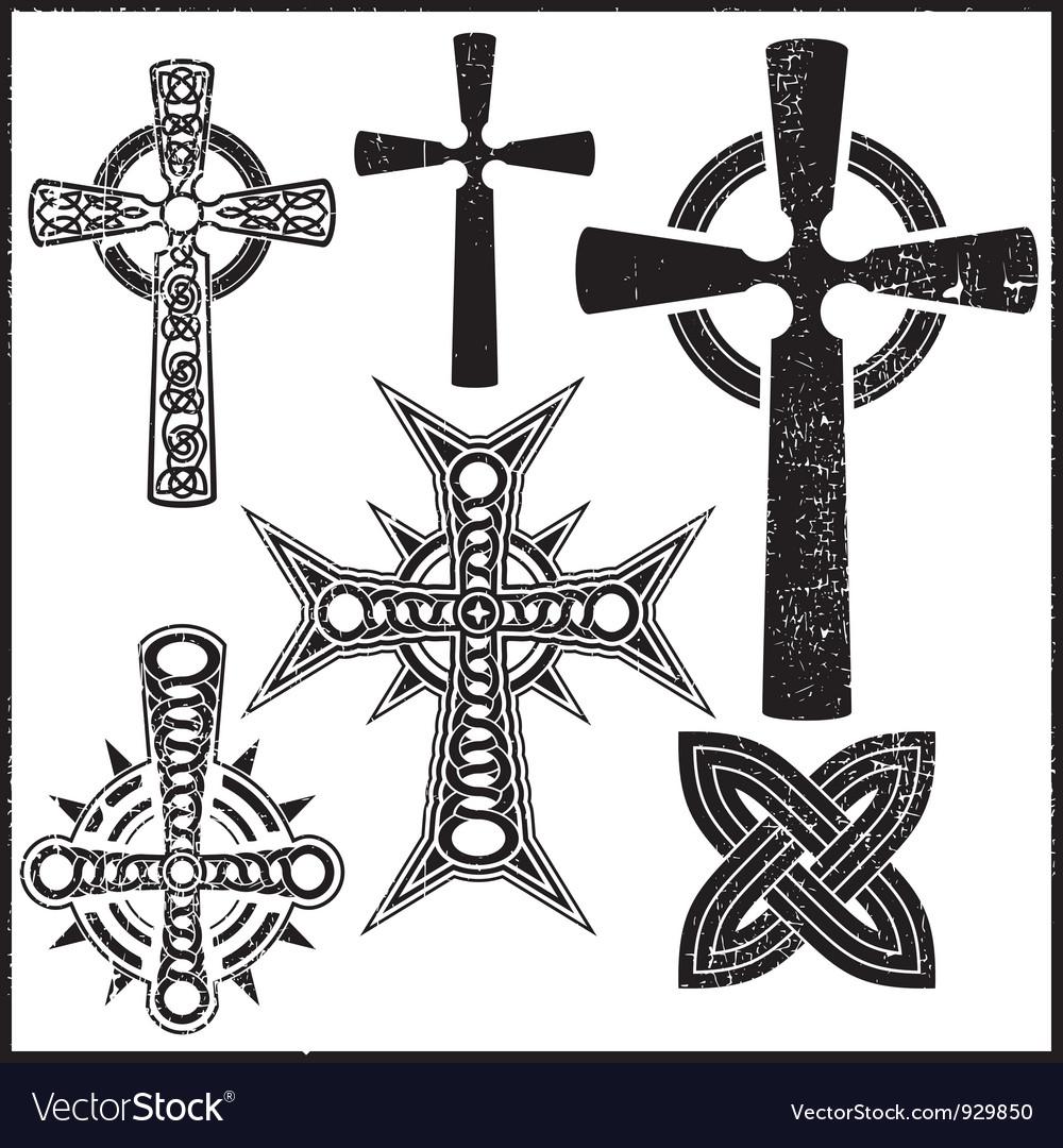 Set of six cross vector | Price: 1 Credit (USD $1)