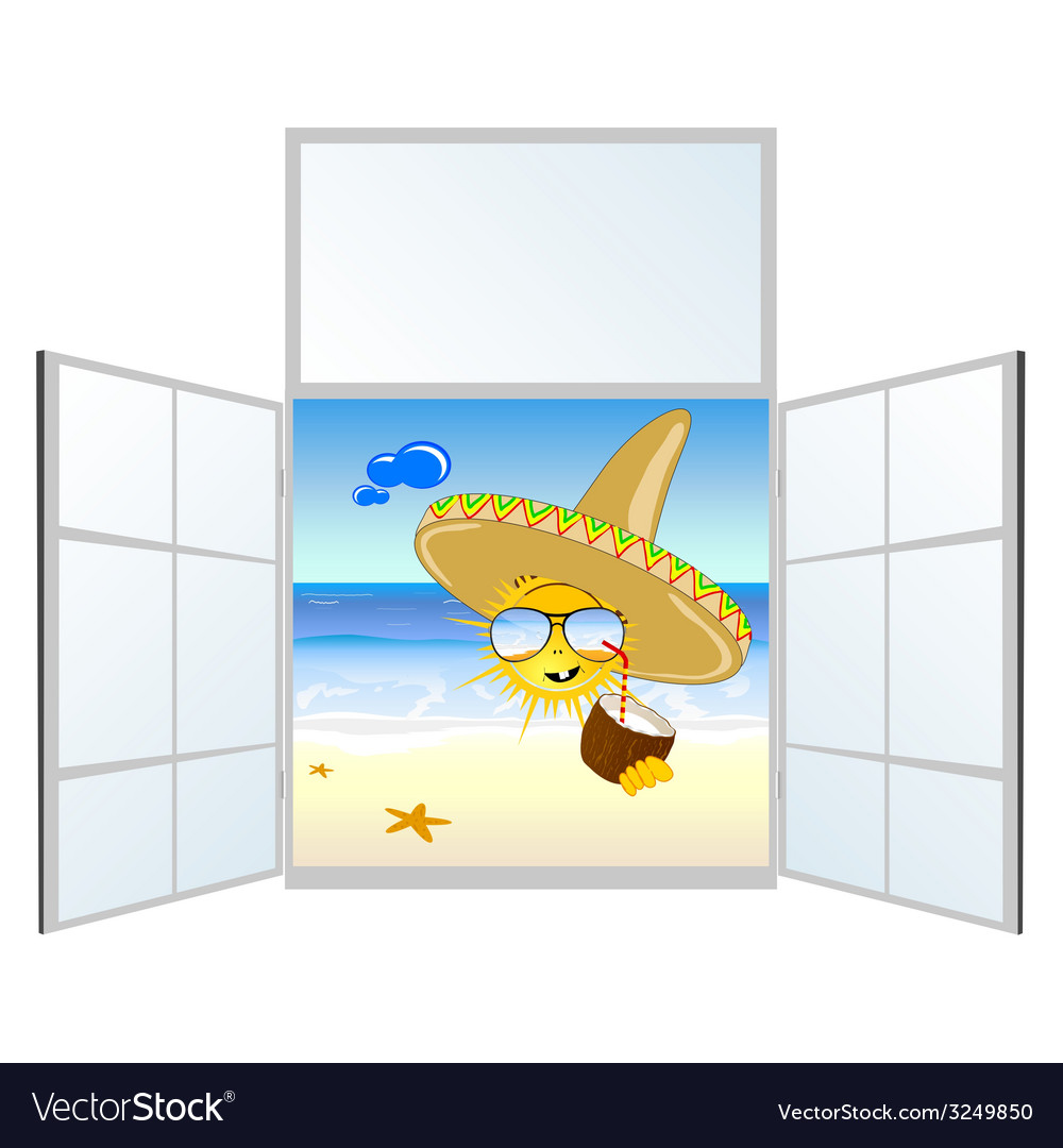 Sun on the beach and window vector | Price: 1 Credit (USD $1)