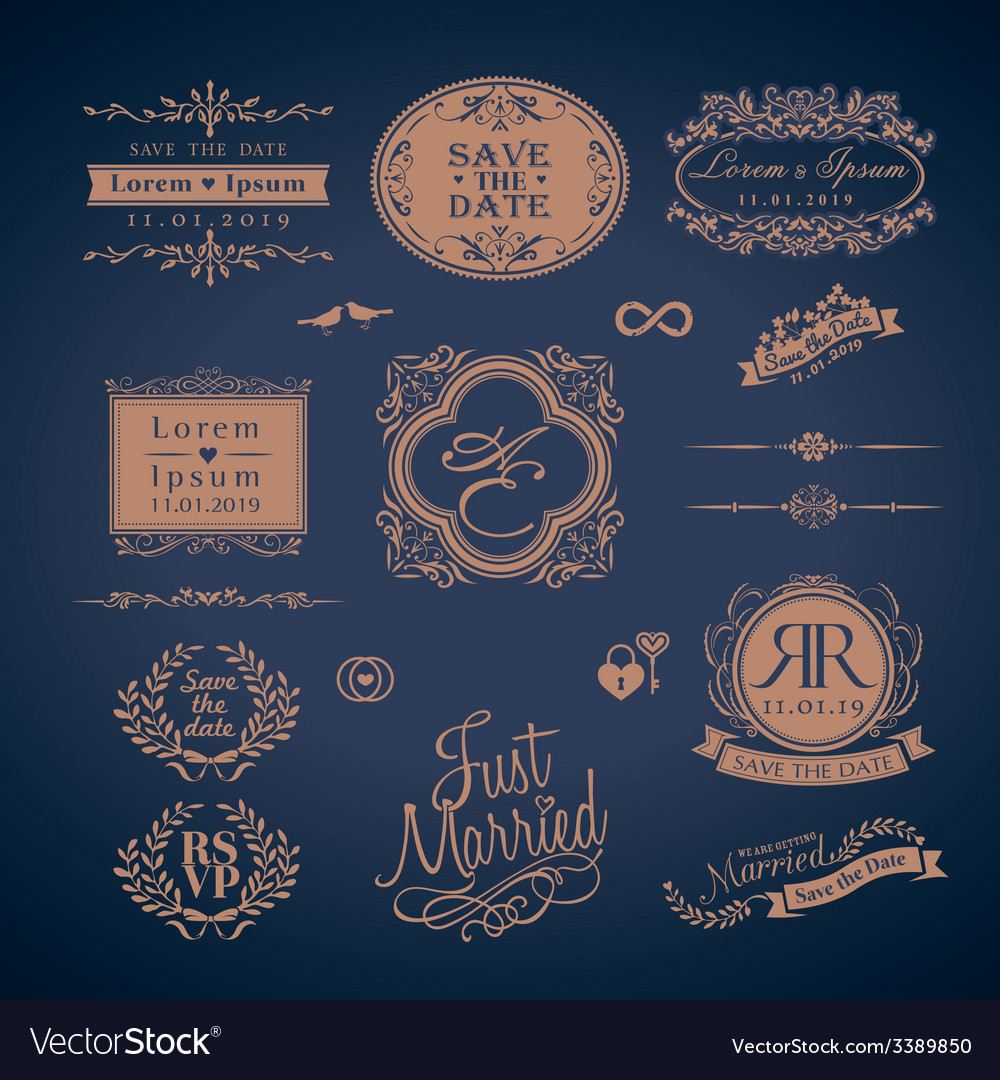 Vintage style wedding symbol border and frame vector | Price: 1 Credit (USD $1)