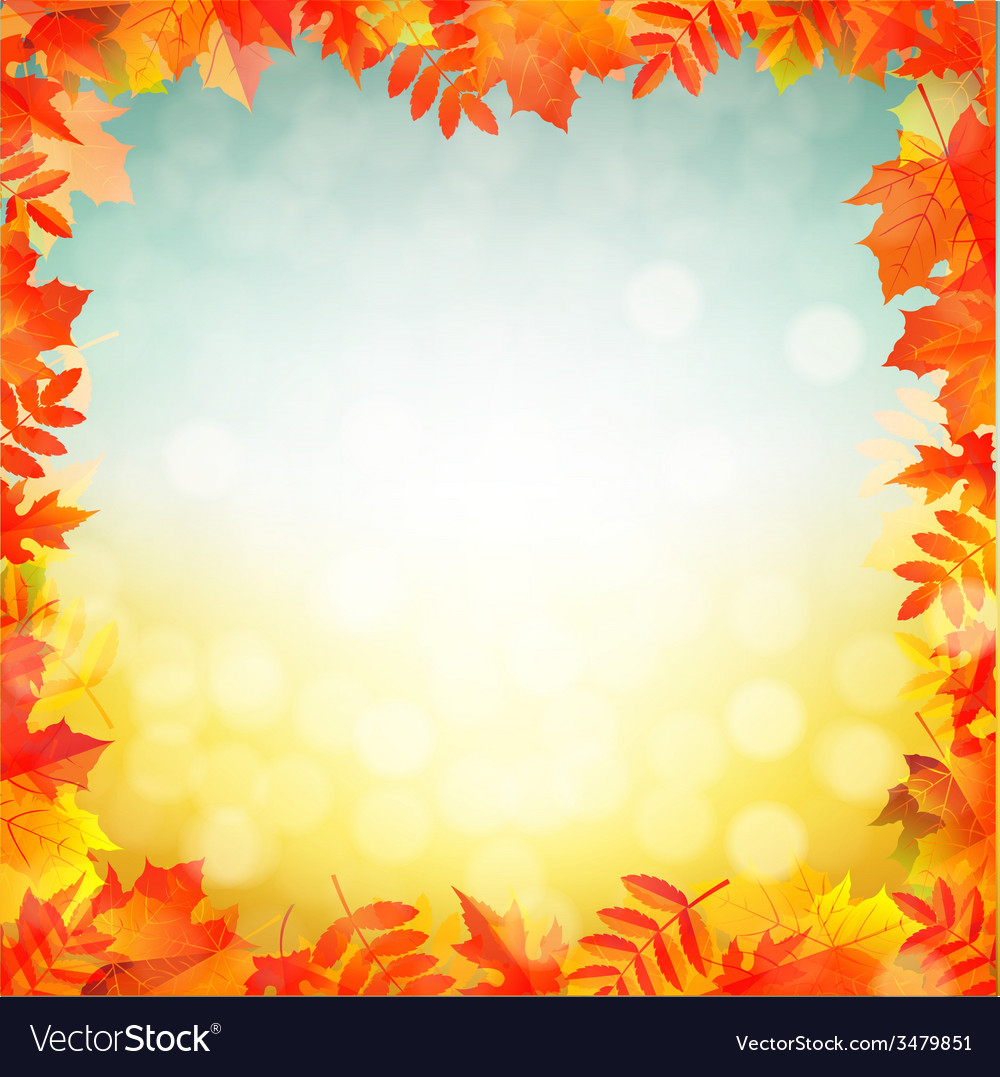 Autumn red leaves border vector | Price: 1 Credit (USD $1)
