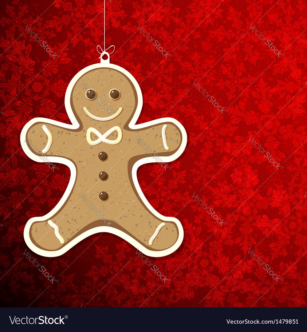 Christmas background with gingerbread man vector | Price: 1 Credit (USD $1)