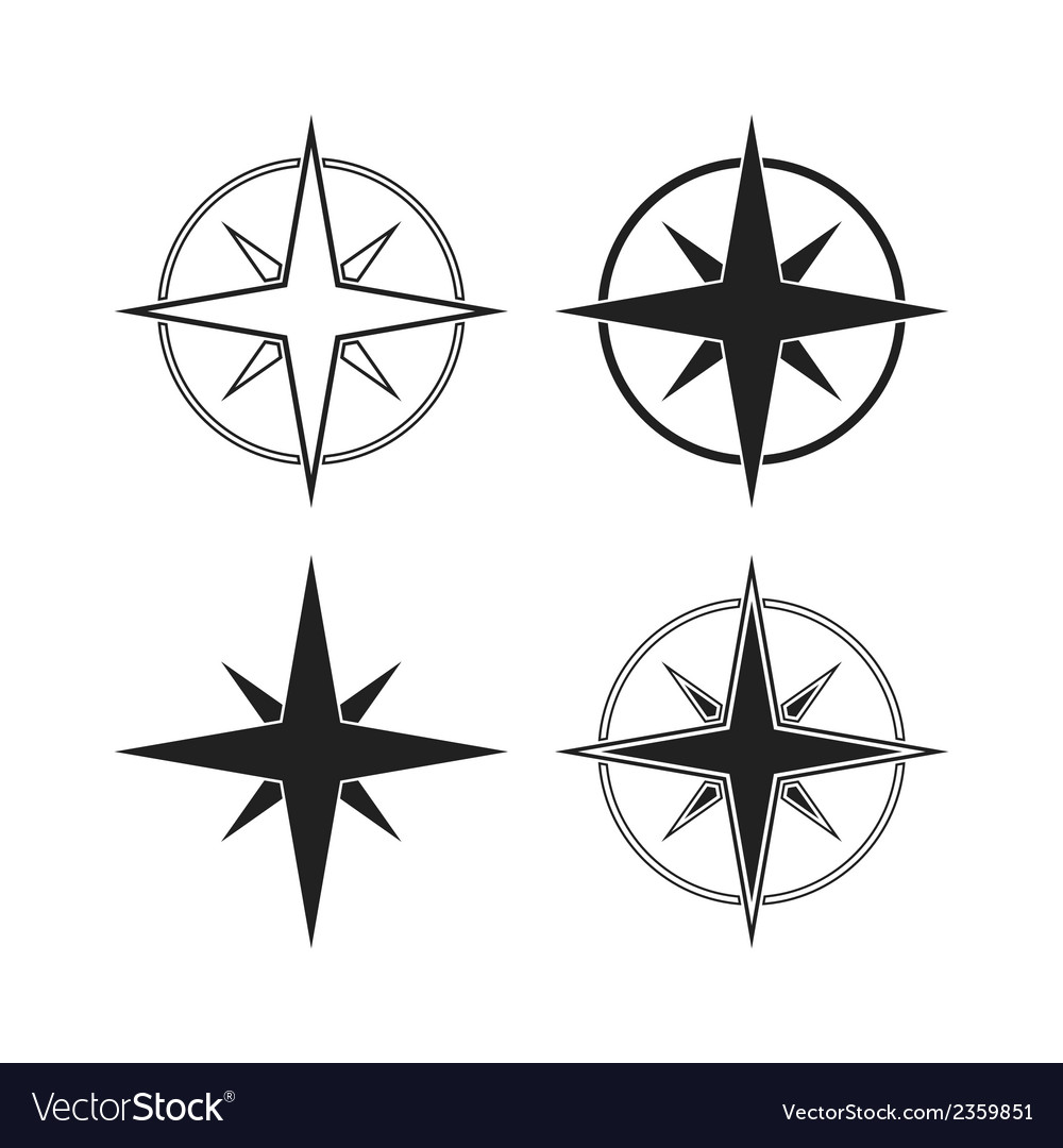 Compass icons isolated on white background vector | Price: 1 Credit (USD $1)