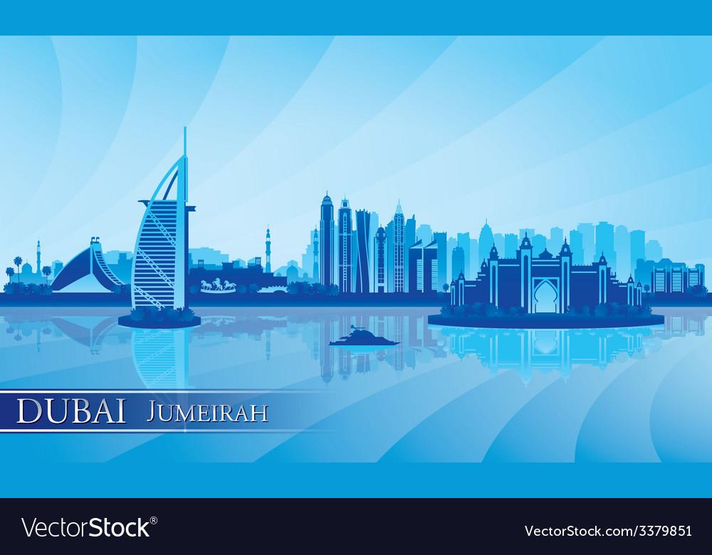 Dubai jumeirah skyline silhouette background vector | Price: 1 Credit (USD $1)