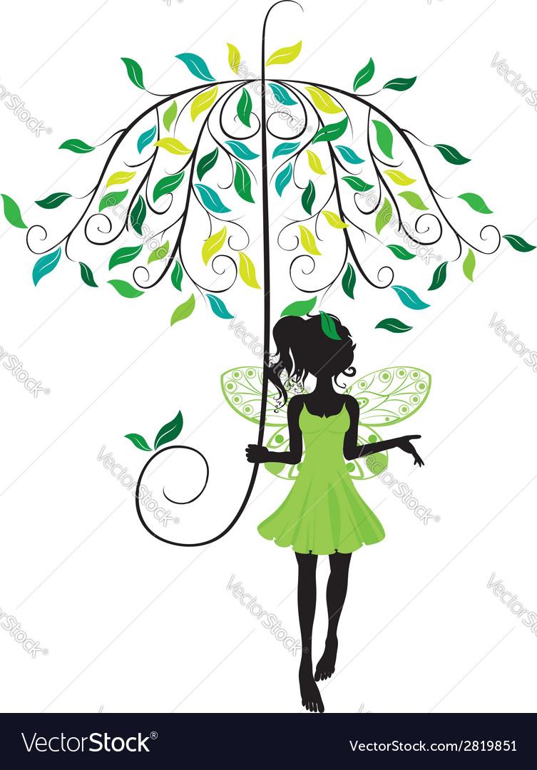 Fairy with floral umbrella vector | Price: 1 Credit (USD $1)