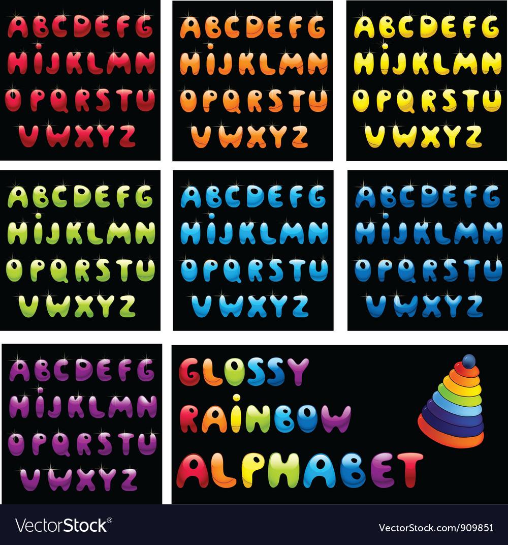 Glossy rainbow alphabet vector | Price: 3 Credit (USD $3)