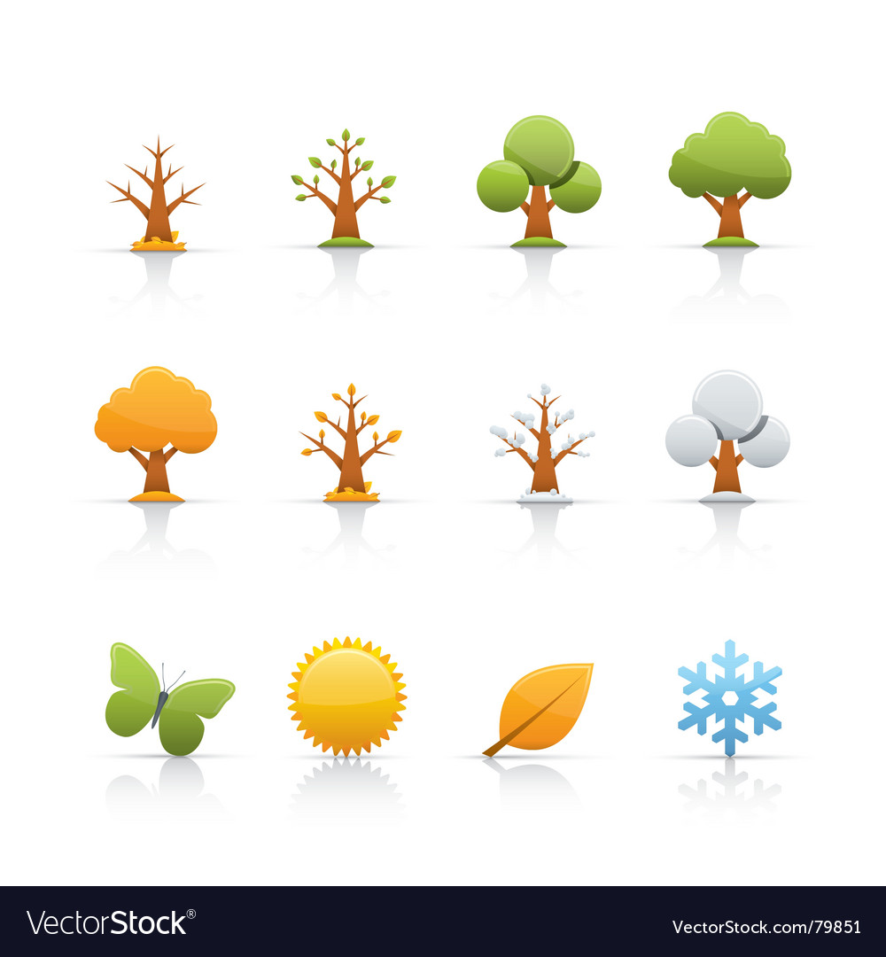 Icon set tree four seasons vector | Price: 1 Credit (USD $1)