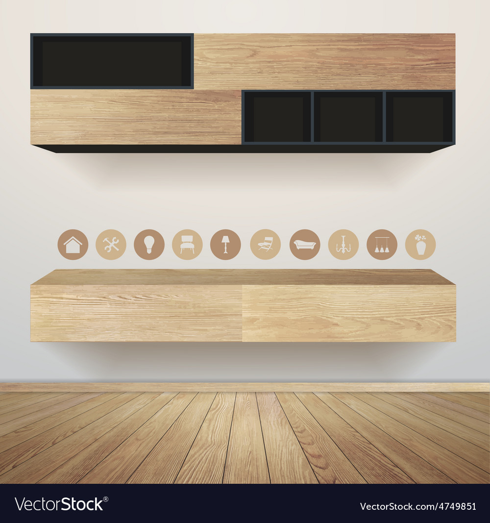 Living room interior with furniture flat icons vector | Price: 3 Credit (USD $3)