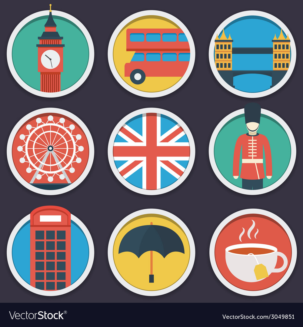 London flat circle icon set vector | Price: 1 Credit (USD $1)