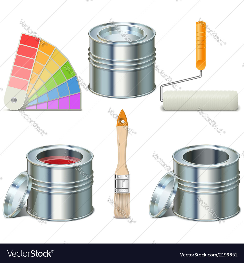Paint can and brush icons vector | Price: 1 Credit (USD $1)