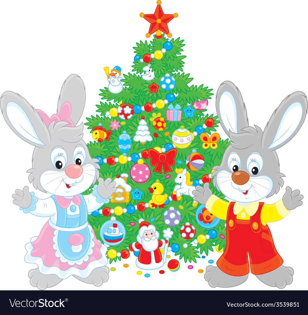 Rabbits and christmas tree vector | Price: 1 Credit (USD $1)