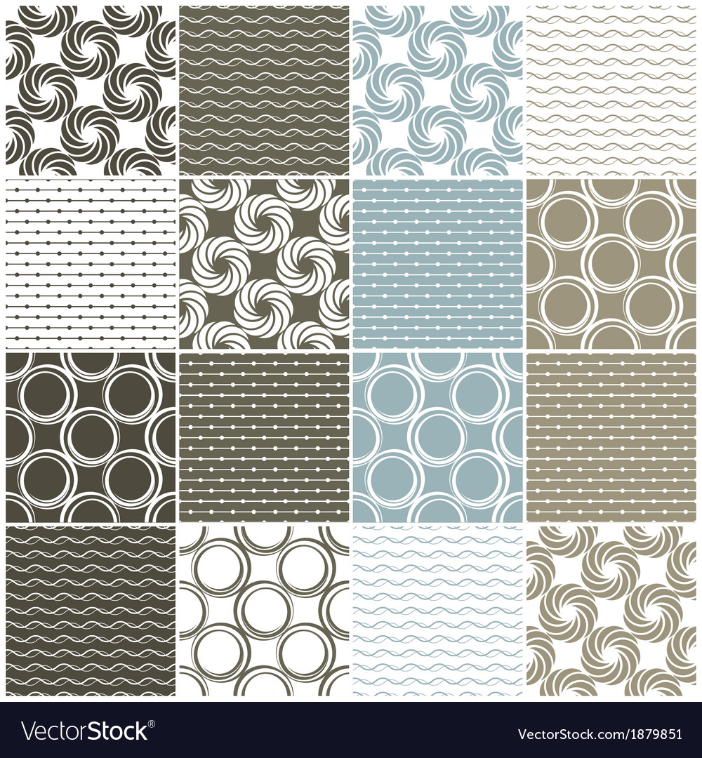 Seamless patterns with dots circles and waves vector | Price: 1 Credit (USD $1)