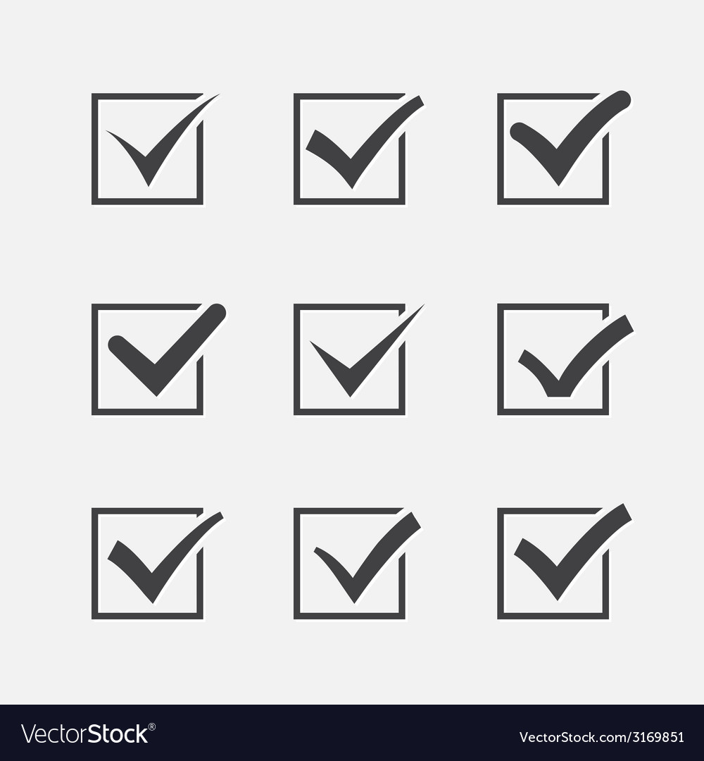 Set of nine different grey ticks or check marks in vector