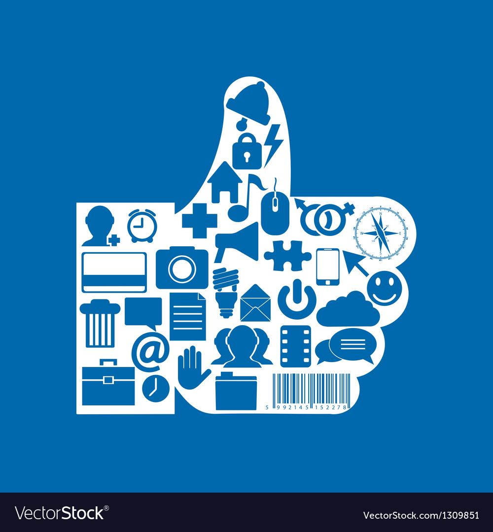 Thumb up icon on blue background eps10 vector | Price: 1 Credit (USD $1)