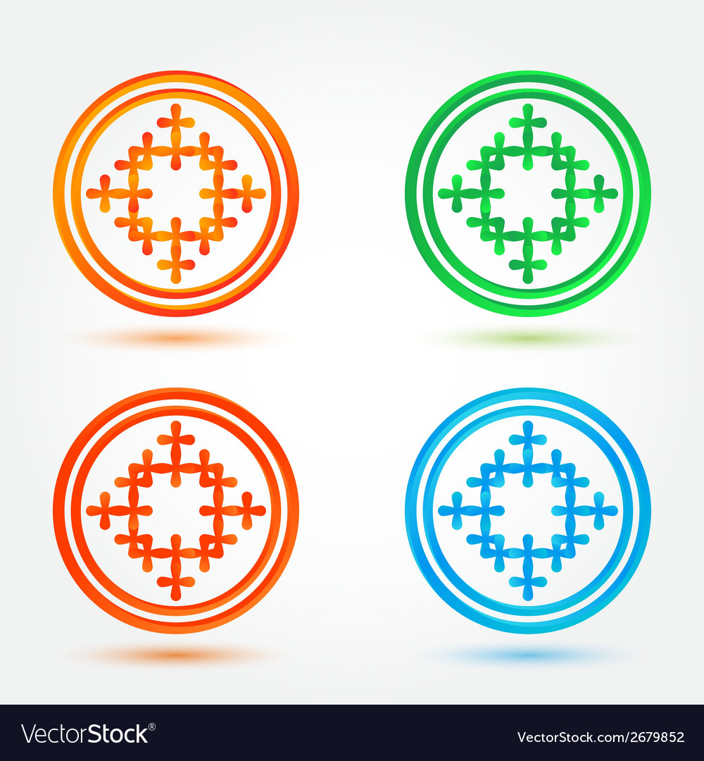 Abstract icons set made of circles and crosses vector | Price: 1 Credit (USD $1)