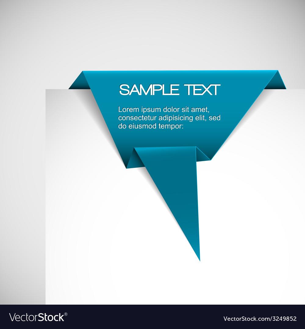 Blue paper origami ribbon vector | Price: 1 Credit (USD $1)