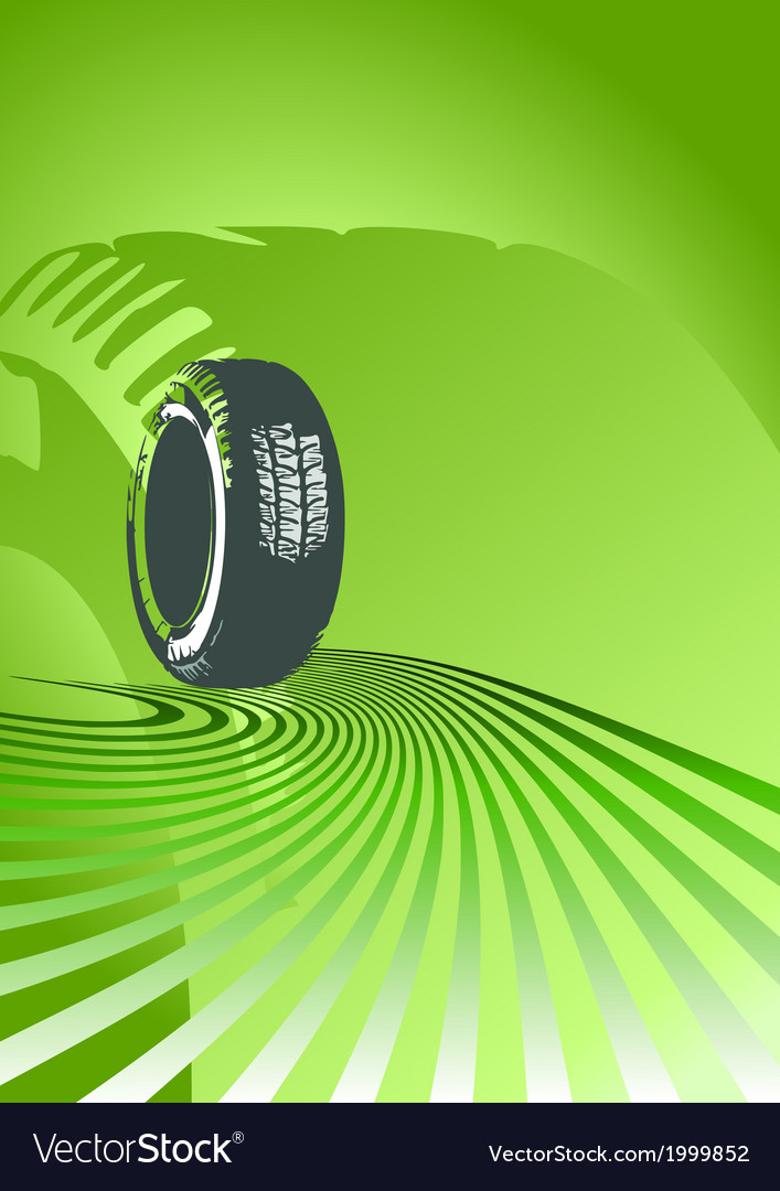 Brand new tire on a green background vector | Price: 1 Credit (USD $1)