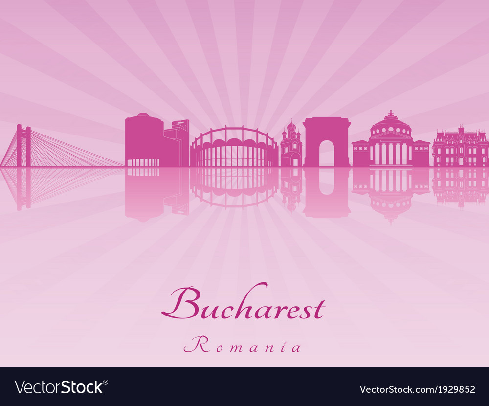 Bucharest skyline in purple radiant orchid vector | Price: 1 Credit (USD $1)