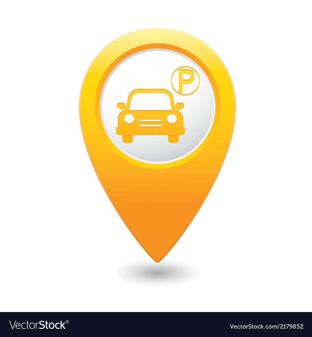 Car parking icon on yellow pointer vector | Price: 1 Credit (USD $1)