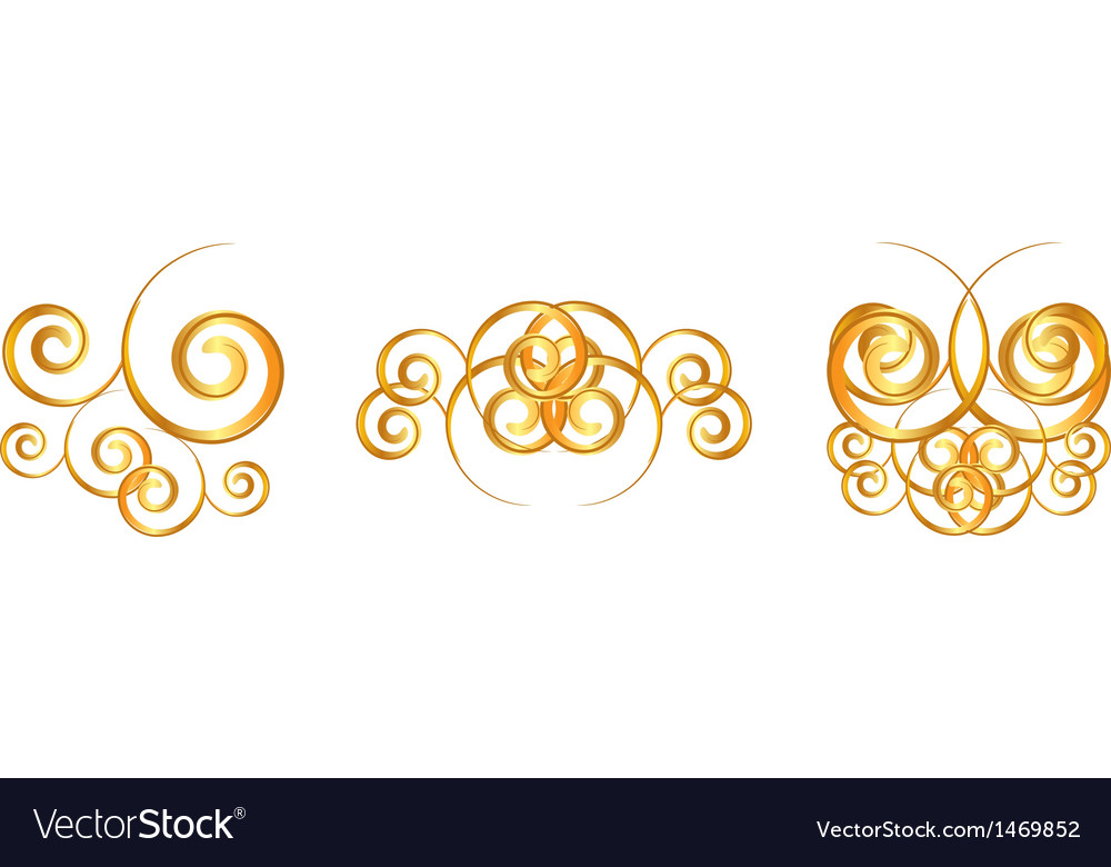 Gold floral symbols vector | Price: 1 Credit (USD $1)