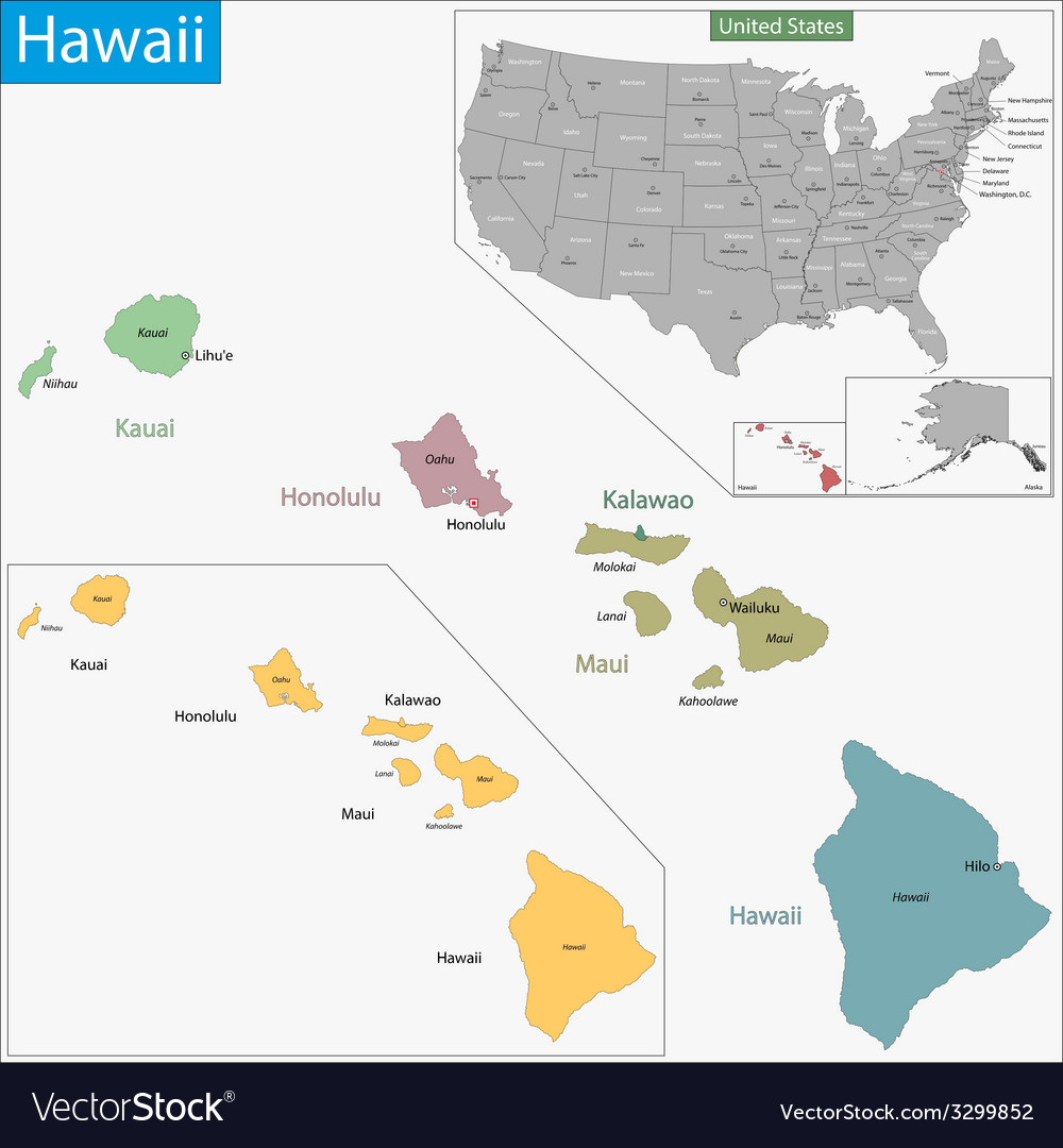 Hawaii map vector | Price: 1 Credit (USD $1)