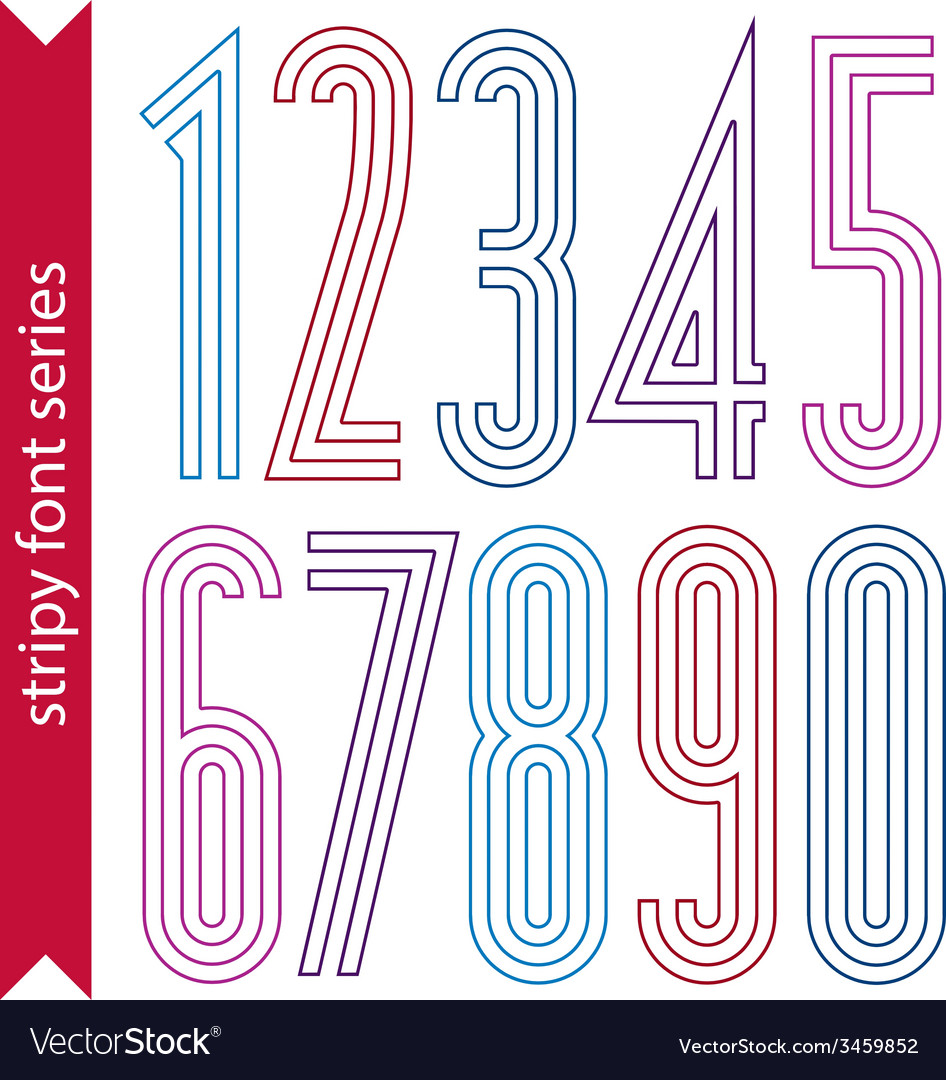 Lined geometric numeration colorful light numbers vector | Price: 1 Credit (USD $1)