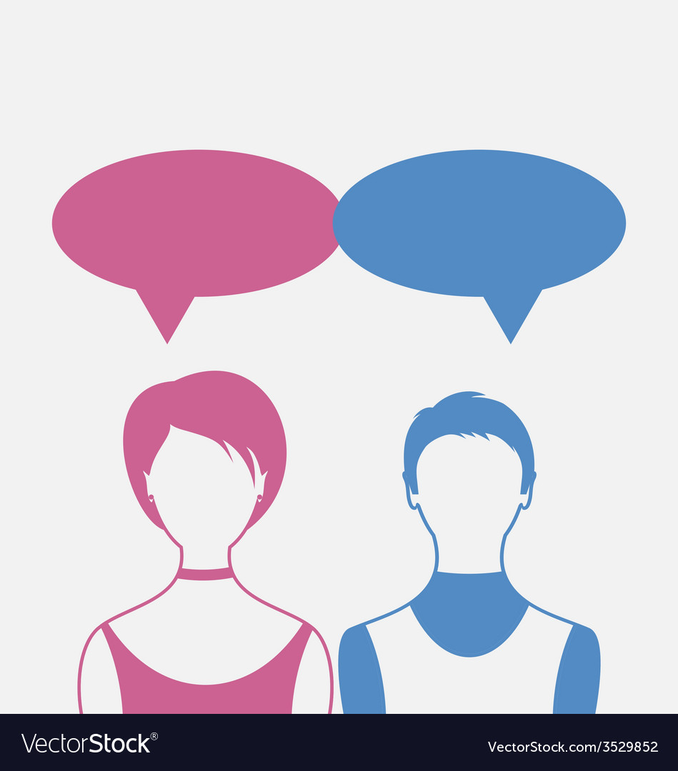 Man and woman with dialog speech bubbles isolated vector | Price: 1 Credit (USD $1)