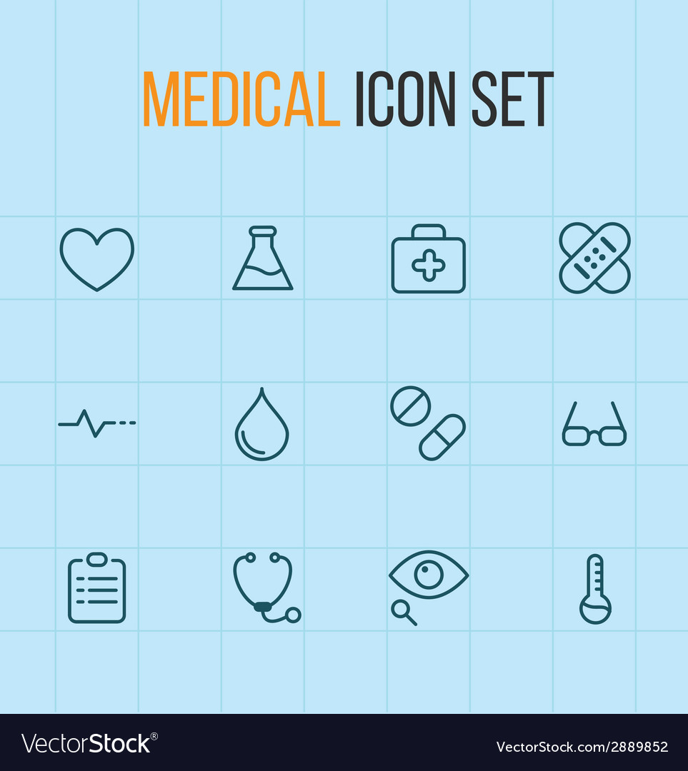 Medical outline icon set vector | Price: 1 Credit (USD $1)