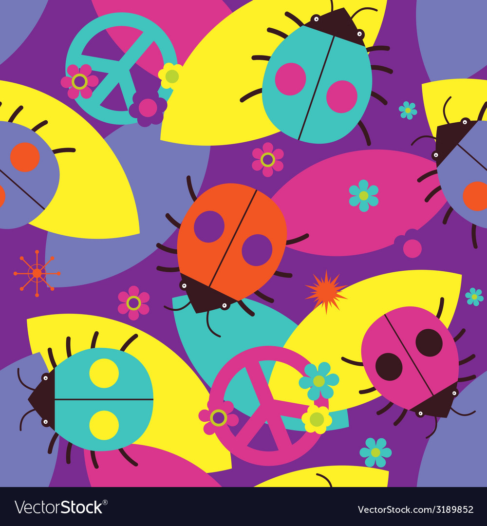 Psychedelic seamless print with ladybugs vector | Price: 1 Credit (USD $1)