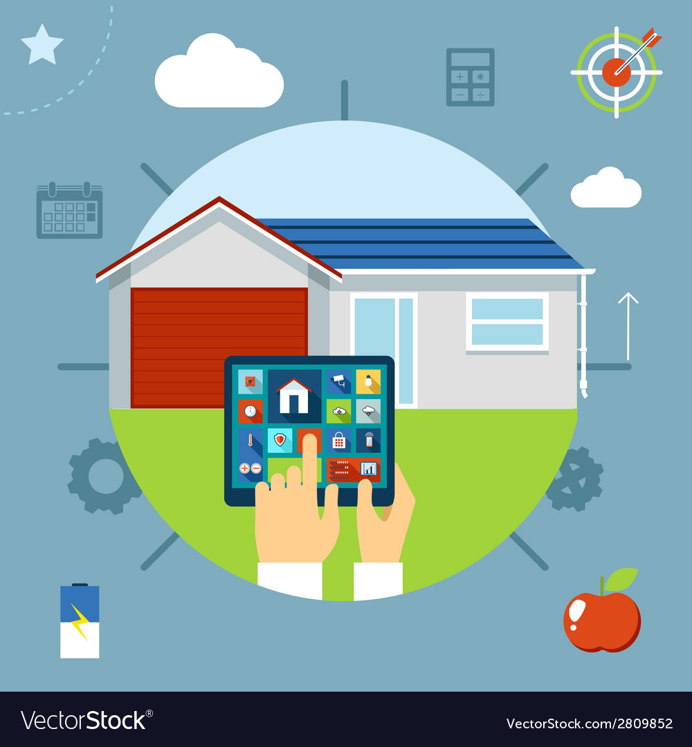 Smart house concept controlled from a tablet vector | Price: 1 Credit (USD $1)