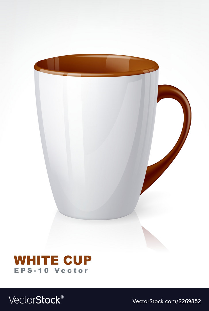 White cup with brown elements vector | Price: 1 Credit (USD $1)