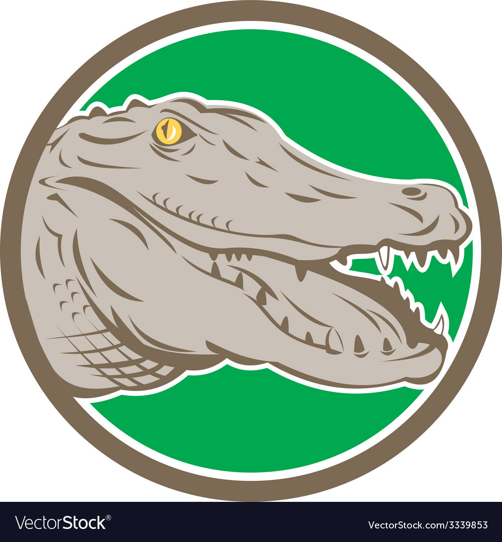 Alligator head snout circle retro vector | Price: 1 Credit (USD $1)