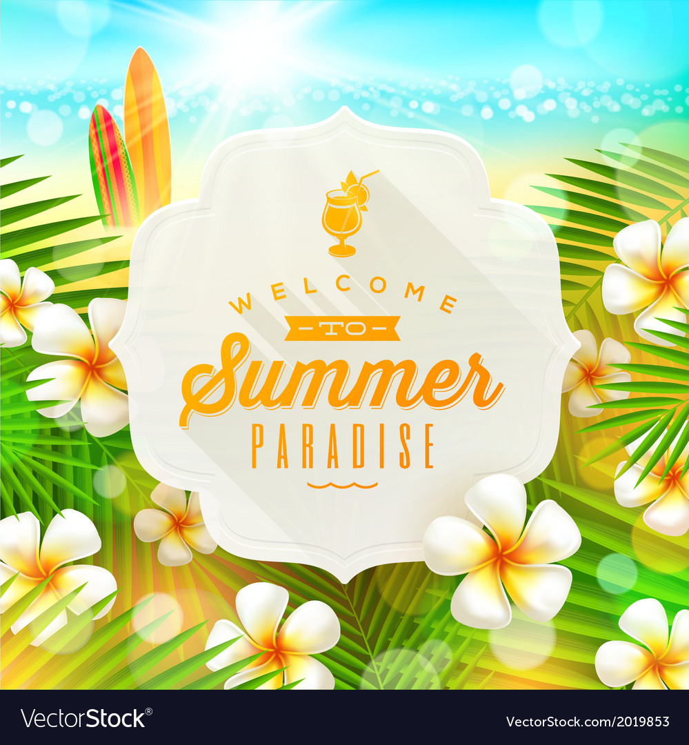 Banner with summer greeting and frangipani flowers vector   Price: 1 Credit (USD $1)