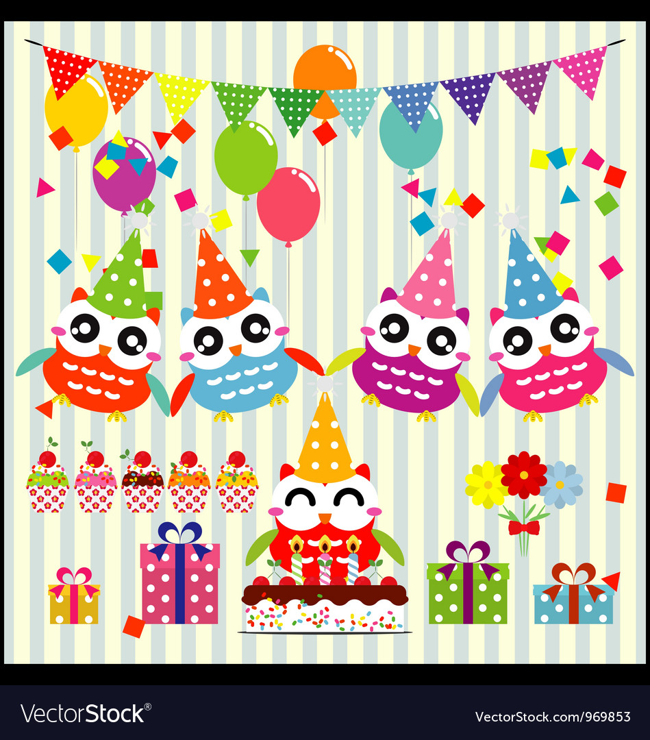 Birthday party elements with cute owls vector | Price: 1 Credit (USD $1)