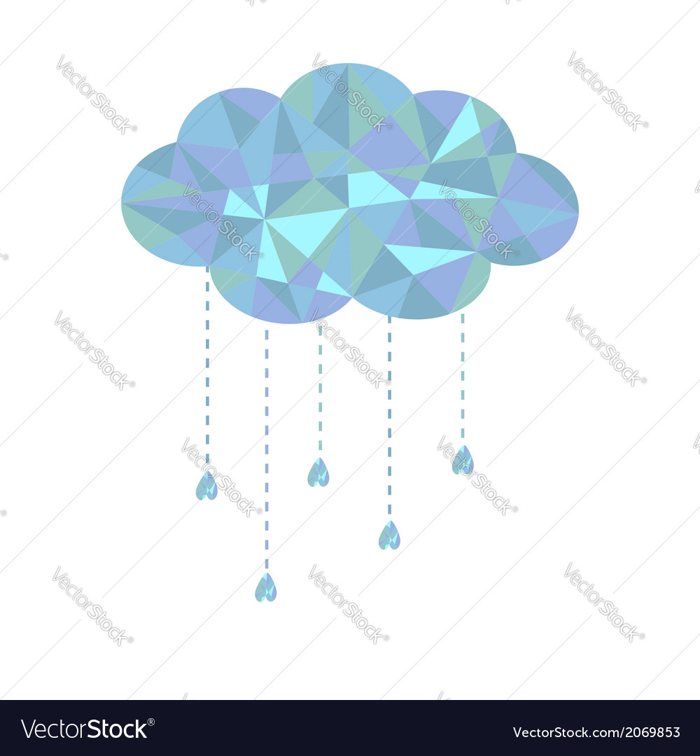 Blue cloud with hanging drops polygonal effect vector | Price: 1 Credit (USD $1)