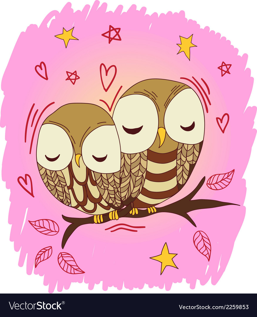 Cute owl postcard vector | Price: 1 Credit (USD $1)