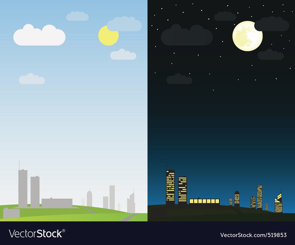 Day and night in the city vector | Price: 1 Credit (USD $1)