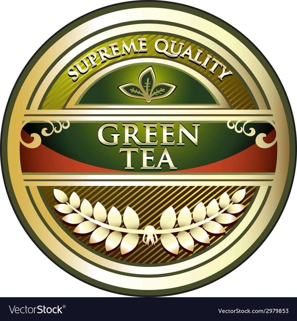 Green tea label vector | Price: 1 Credit (USD $1)