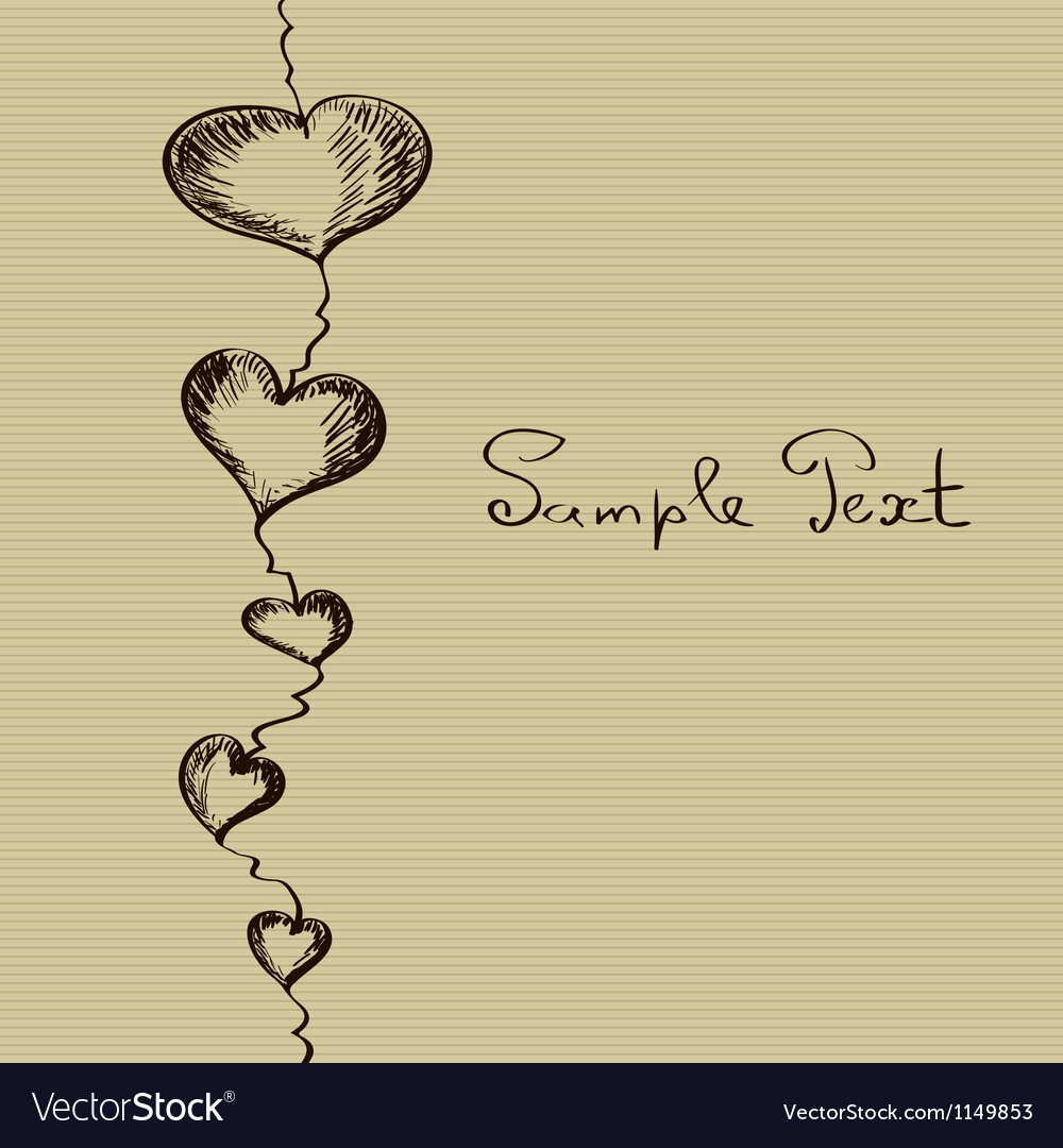 Hand-drawn sketch hearts background vector | Price: 1 Credit (USD $1)