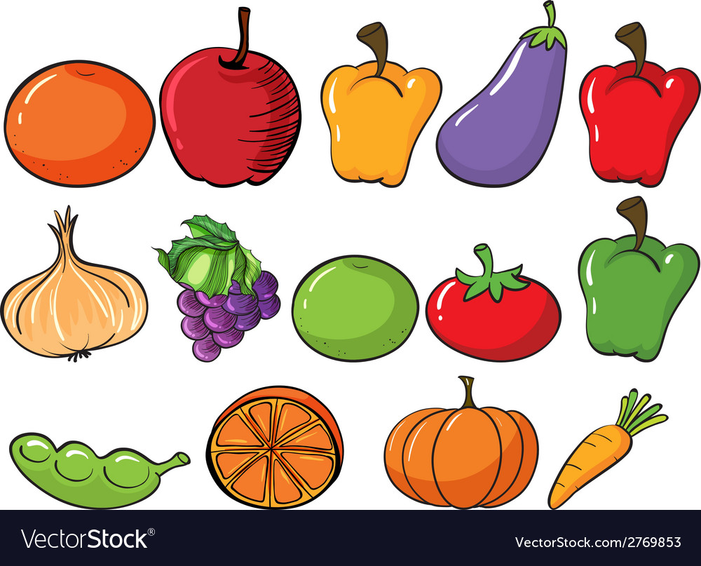 Healthy fruits and vegetables vector | Price: 1 Credit (USD $1)