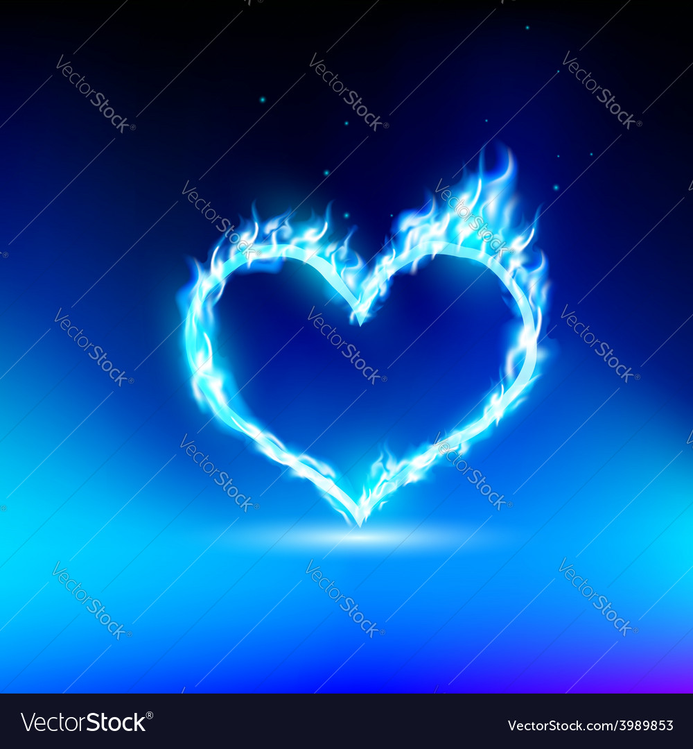 Human heart with a blue light vector | Price: 1 Credit (USD $1)