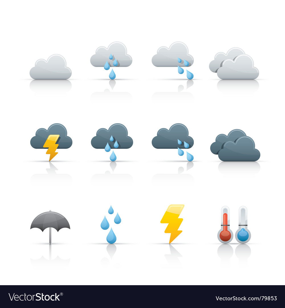 Icon set weather and climate vector | Price: 1 Credit (USD $1)