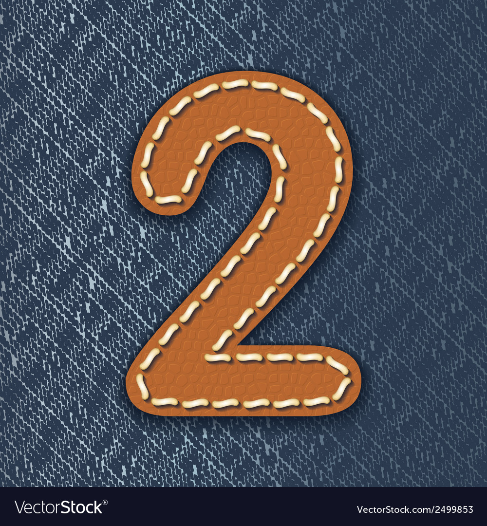 Number 2 made from leather on jeans background vector | Price: 1 Credit (USD $1)