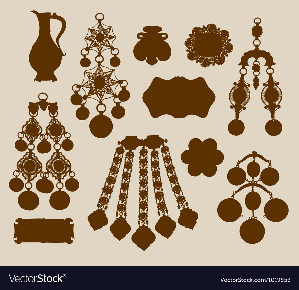 Old jewelery and treasures silhouettes vector | Price: 1 Credit (USD $1)