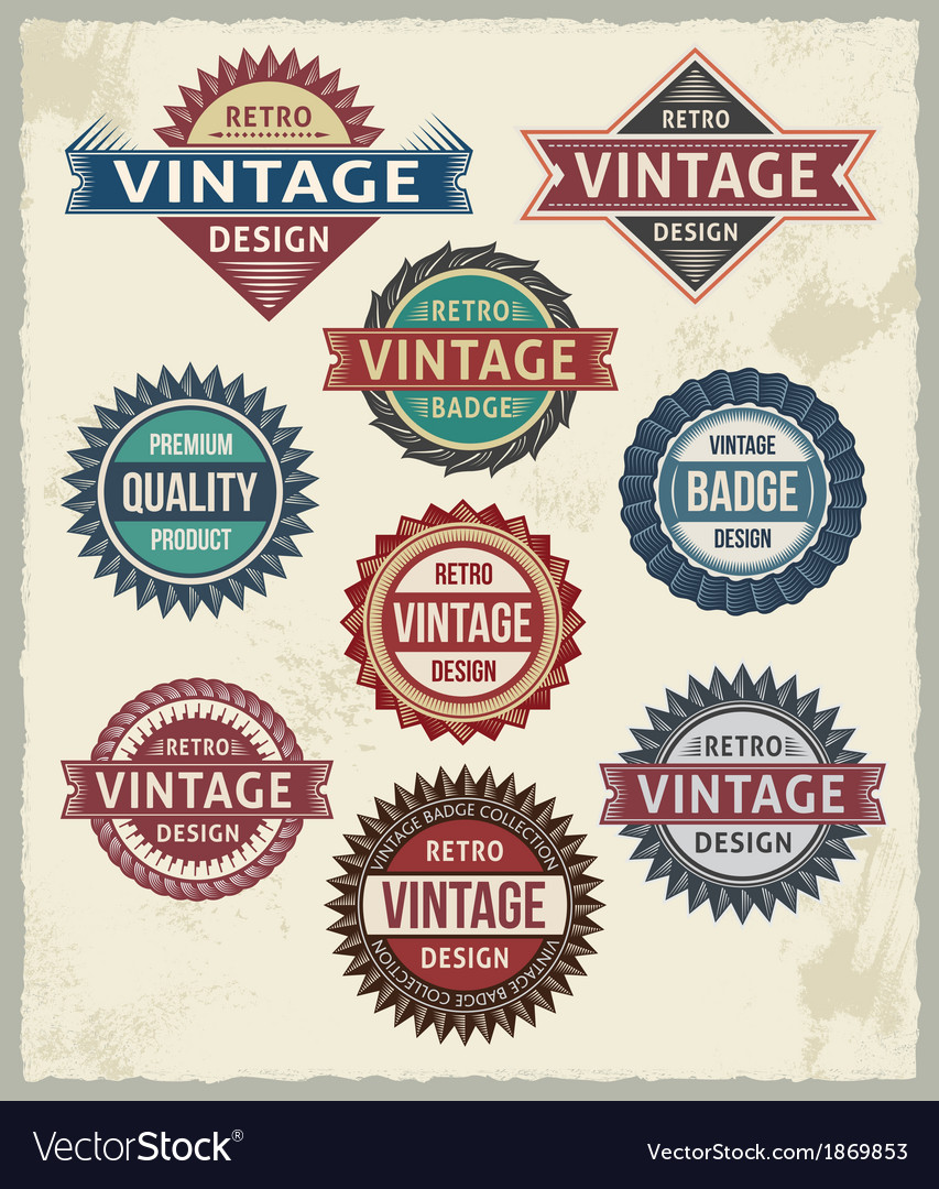 Set of retro vintage badge and label design set vector | Price: 1 Credit (USD $1)