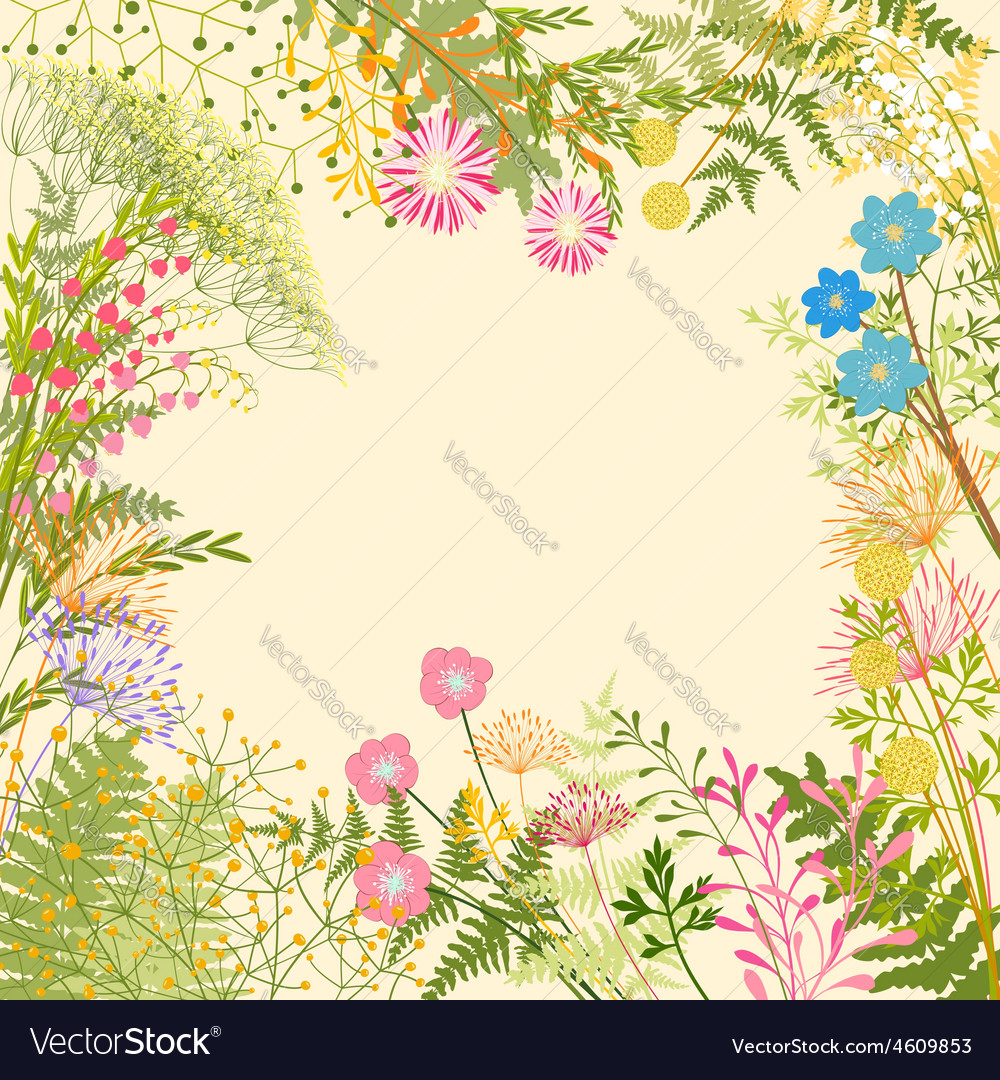 Springtime colorful flower herb garden party vector | Price: 1 Credit (USD $1)