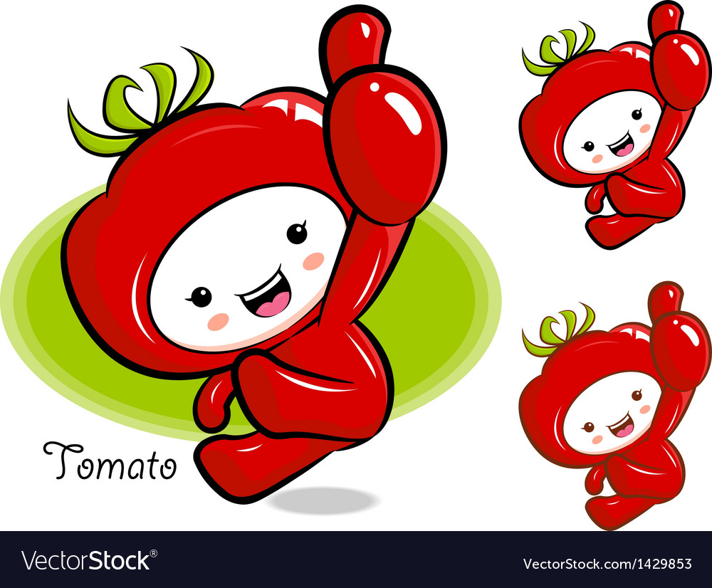 Tomato mascot the right hand best gesture vector | Price: 1 Credit (USD $1)