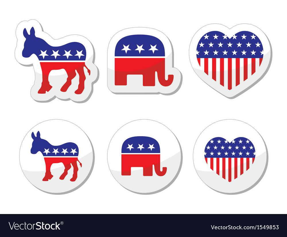 Usa political symbols democrats and repbublicans vector